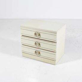 Cream 3 Drawer Gilt Trim Perspex Disc Handle Bedside Cabinet