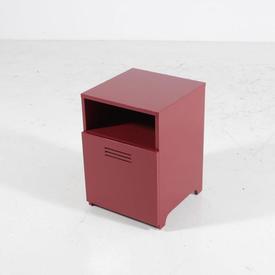 Dark Red Open Top with Vented Door Bedside Cabinet