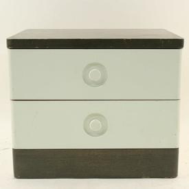70'S Stag Off White & Gray Oak 2 Drawer Bedside Cabinet