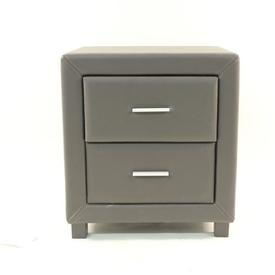 Faux Brown Leather 'Dorset' 2 Drawer Bedside Cabinet