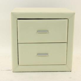 Faux Cream Leather 'Dorset' 2 Drawer Bedside Cabinet