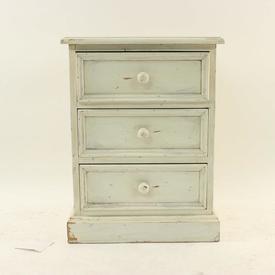 Antique White 3 Drawer Bedside Cabinet