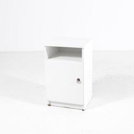 White Formica/Brass Handle 1 Door Bedside Cabinet