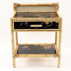 Oriental Bamboo/Black Floral/Bird Patt 1 Drawer Bedside Cabinet