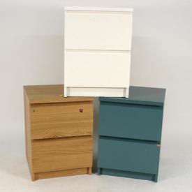 2 Drawer Aqua/Oak/White  Melamine Bedside Cabinet