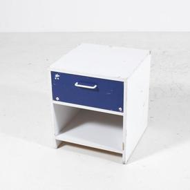 White & Blue 1 Drawer Lollipop Bedside Cabinet