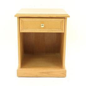 Oak Open & 1 Drawer Brass Knob Lyster Bedside Cabinet