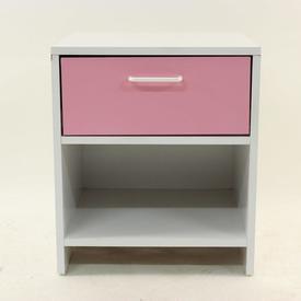 White & Pink 1 Drawer Lollipop Bedside Cabinet