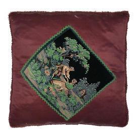 "Cushion 18"" x 18"" Burgundy Couple in Garden Print Velvet on Sateen"