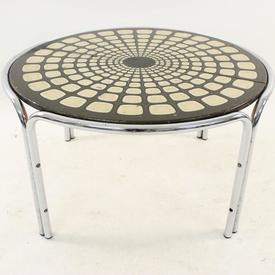Circular C/P Frame Brown & Cream Patt Coffee Table