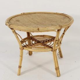 60Cm Dia Circular Cane Coffee Table with Undershelf