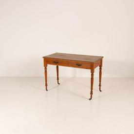 Dark Pine 2 Drawer Turned Leg Brass Handle Dressing Tableon Brass Castors