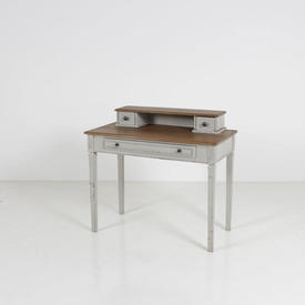 Aged Oak And Grey Washed Leg Dressing Table with Top Box & 3 Drawer