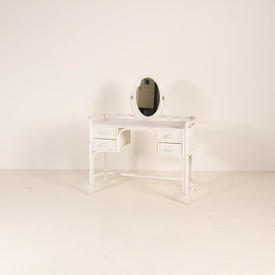 White Bamboo &  Rattan Shape Clem Dressing Table  with Mirror