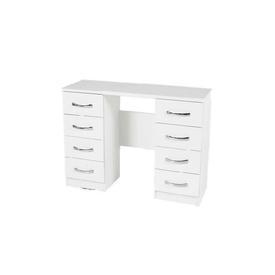 120Cm White 8 Drawer Nova Double Ped Dressing Table Chrome D Shape Handles