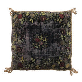 "Cushion 16"" x 16"" Purple Worn Floral Chenille Emb Velvet"
