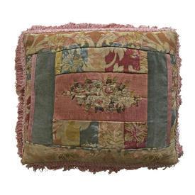 """Cushion 12"""" x 15"""" Rose / Teal Floral Tapestry & Velvet Patchwork / Fringe"""