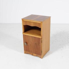 Two Tone Walnut 1 Door Ornate Handle Discreet Drawer Bedside Cabinet