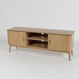 Solid Oak Malmo 2 Door& Open Shelf 160Cm X 45Cm X 60Ctv Unit