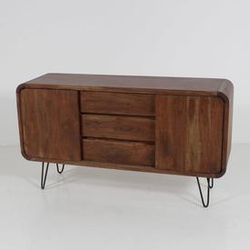 Stc Medium Oak 3 Drawer / 2 Sliding Door Staple Leg Sideboard