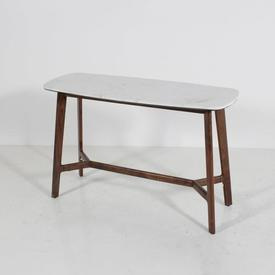 120 X 46Cm Marble Top Walnut Frame Console Table