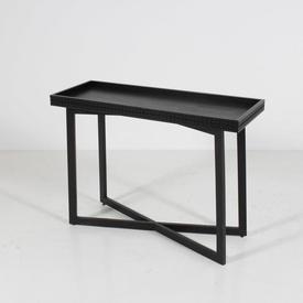 110 X 40Cm Black Ash Krueger Fretted Edge Tray Top Cross Base Console Table