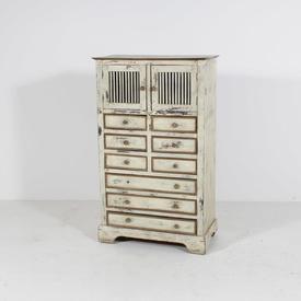 Shell Cream 9 Drawer 2 Louvre Door Cabinet