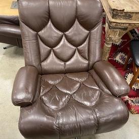 Brown Leather Tetrad Chrome 5 Prong Swivel Base Armchair