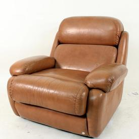 70S Tan Leather Cosford  Roll Back Arm Chair