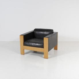 Black Cushioned Leather Chunky Wood Frame Mpf Armchair
