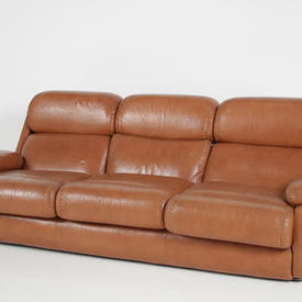 70S Tan Leather Cosford  Roll Back Settee