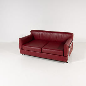 Dull Red Leather Chrome Frame 2 Seat Sofa