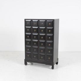 24 Drawer Shanxi Weathered Black Storage Chest Unit with Brass Knocker Handles