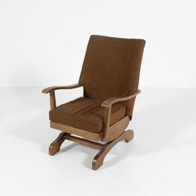 Brown Fabric Teak Frame Rocking Chair on Solid Base