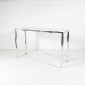 180Cm X 60Cm Tall White Glass Top Brushed Steel Leg Console 110Cm (H)