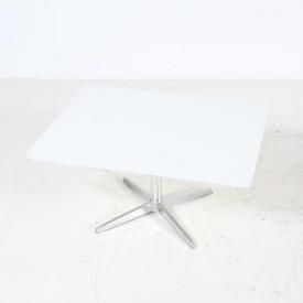 Rect White S/Steel Pedestal Base Coffee Table with 4 Feet