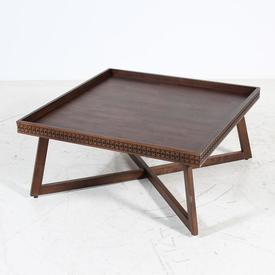 90Cm Square Walnut Krueger Fretted Edge Tray Top Cross Base Coffee Table