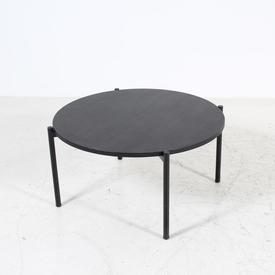 80Cm Circular Black Oak Tubular Leg Coffee Table