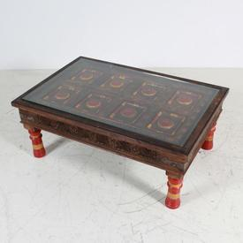 Rect indonesian Glass Top Red And Yellow Patt Carved Oak Coffee Table