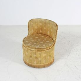 Gold Button Draylon Seat Louis Style Bedroom Stool with Back