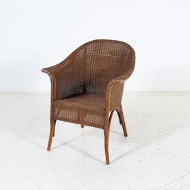 Dark Stained Lloyd Loom Wicker Tub Chair