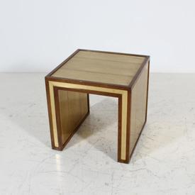 Wood Trim Gold inlay Glass Top Slab Side Lamp Table Mpf