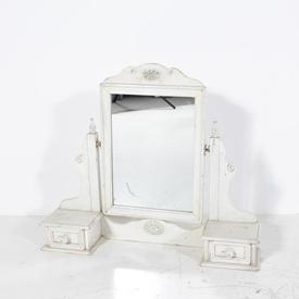Antique White 2 Drawer Dressing Table Mirror