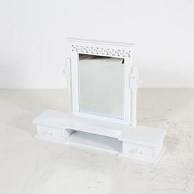 White 2 Draw Pattern Top Dressing Table Mirror