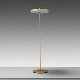 Brass ''Asteria'' Led Floor Lamp with Cream Disc Shade
