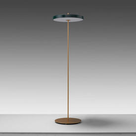 Brass ''Asteria'' Led Floor Lamp with Green Disc Shade
