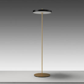 Brass ''Asteria'' Led Floor Lamp with Black Disc Shade