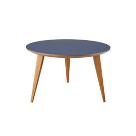Circ Blue & Birch Wood ''Bob'' Coffee Table on Stained Oak Legs