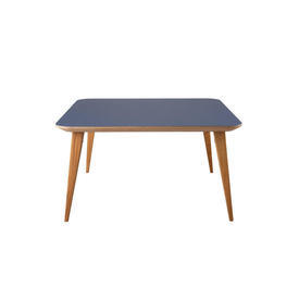 Square Blue & Birch Wood ''Bob'' Coffee Table on Stained Oak Legs