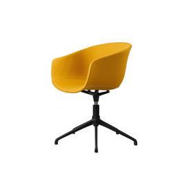 Mustard Fabric ''Bai'' Swivel Chair on Black Base